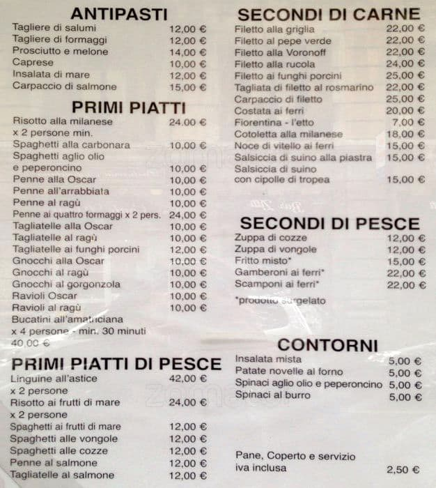 La Via Restaurant Menu