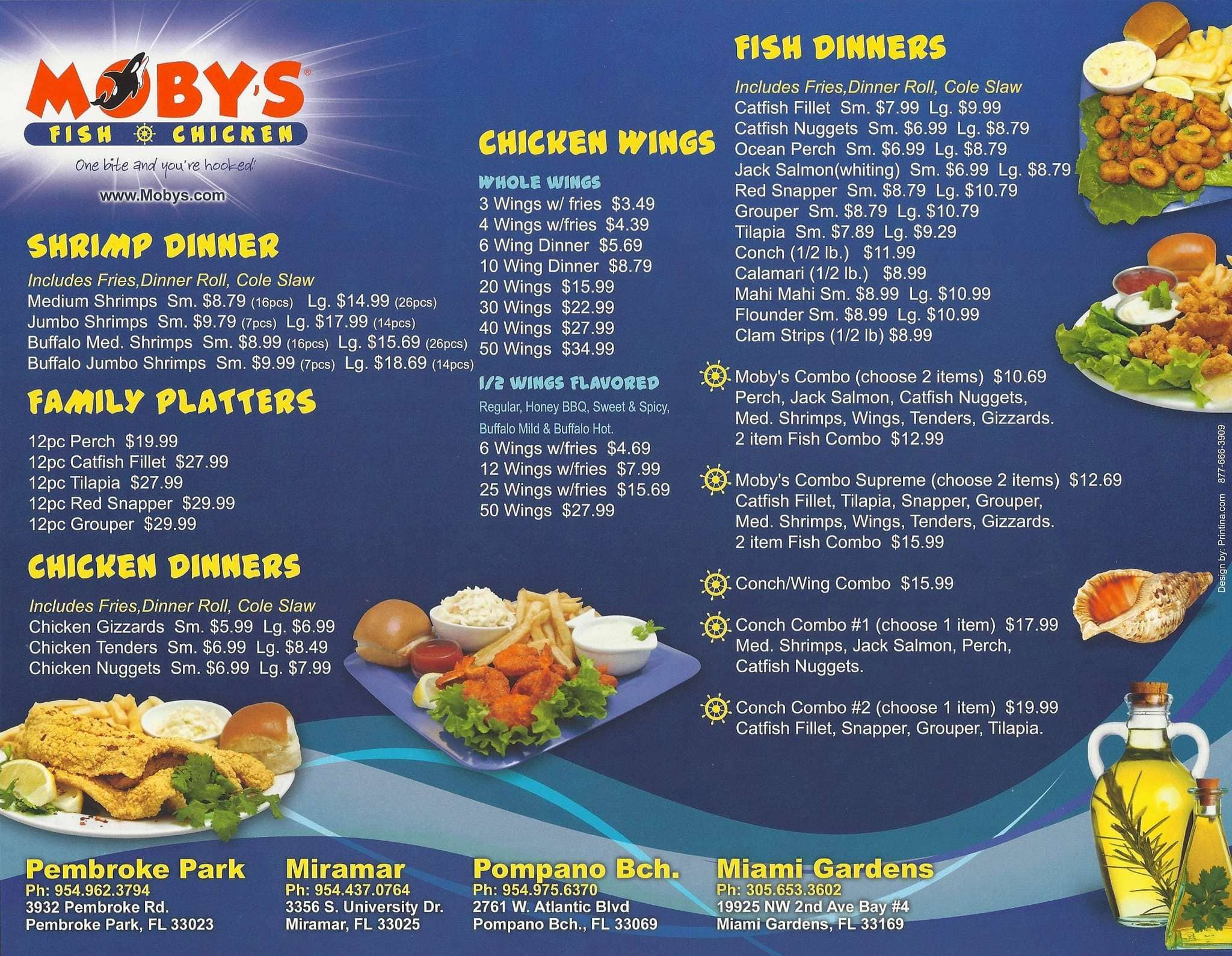 Moby 39 s fish and chicken sports mania all about sports 2017 for Fish and chicken menu