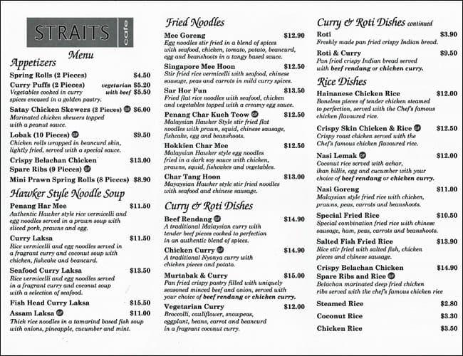 Straits Cafe Wantirna Menu