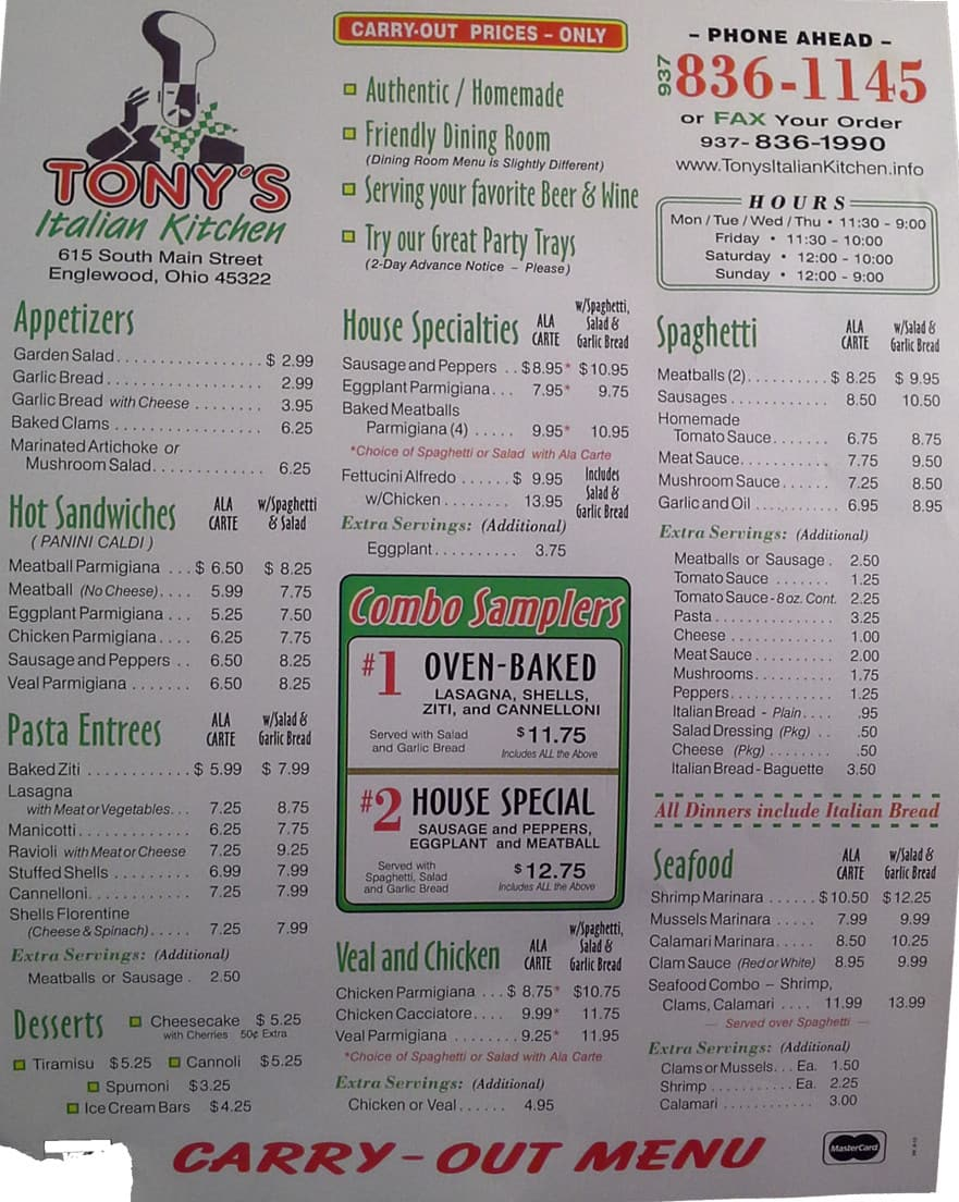 menu at tony's italian kitchen, 615 s main st - restaurant prices