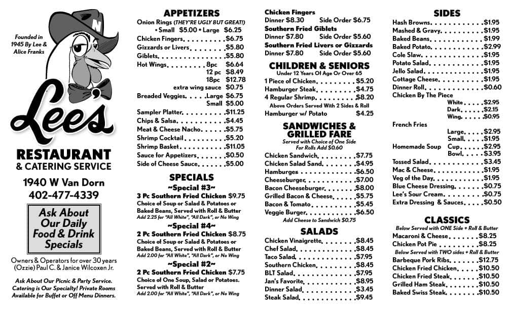 Lees Restaurant Menu Menu For Lees Restaurant Lincoln Lincoln