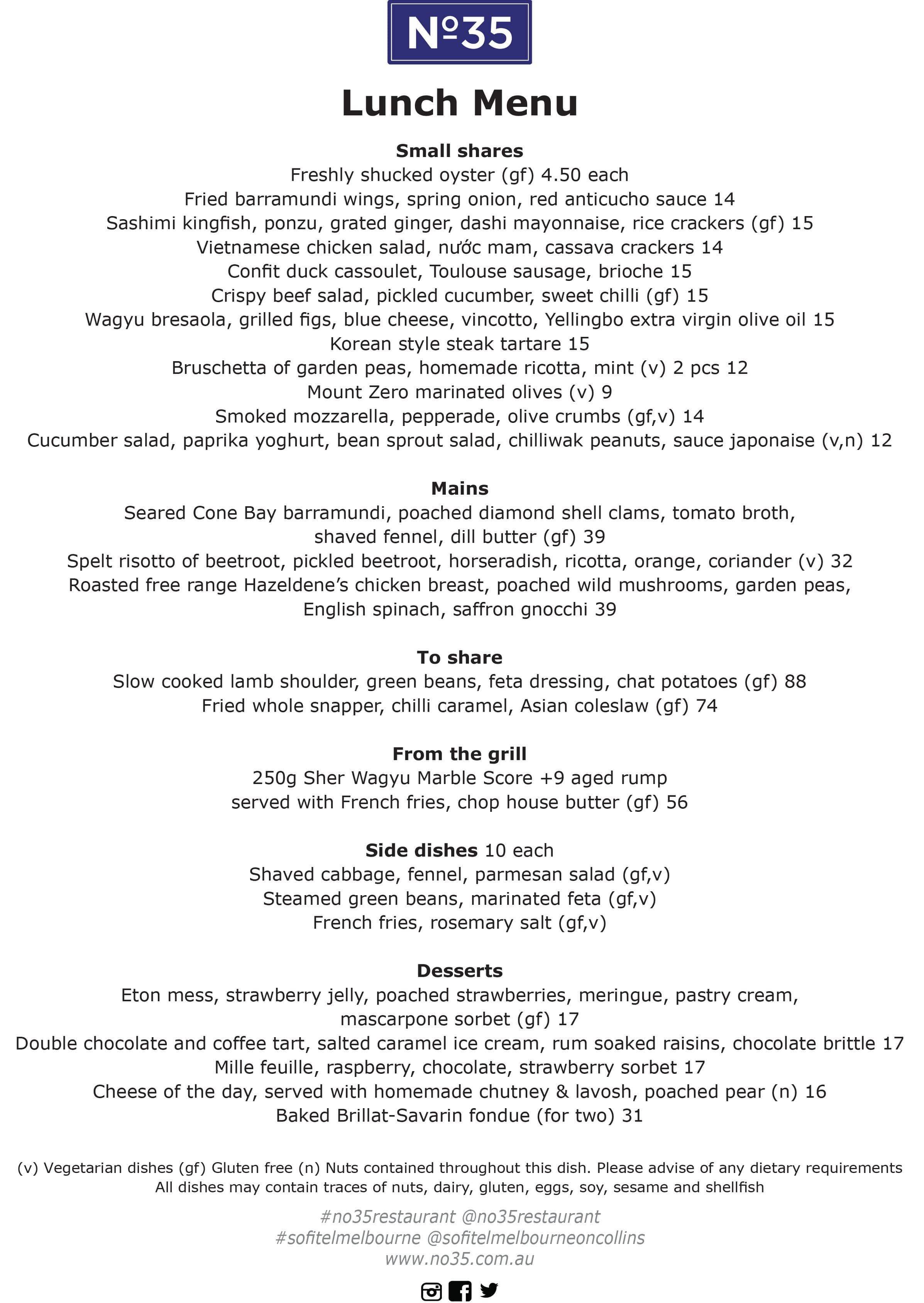 Menu at No35, Sofitel Melbourne On Collins - Restaurant prices
