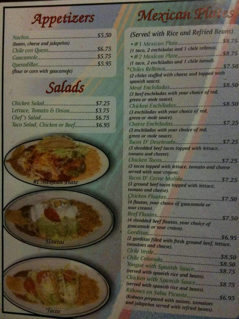 Dominguez Mexican Food Restaurant Eastside Menu