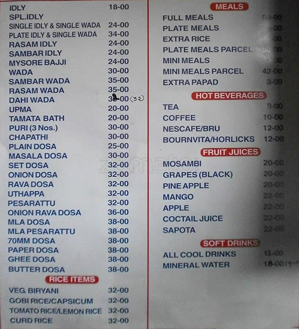 Hotel Akshaya Vegetarian Dilsukhnagar Menu