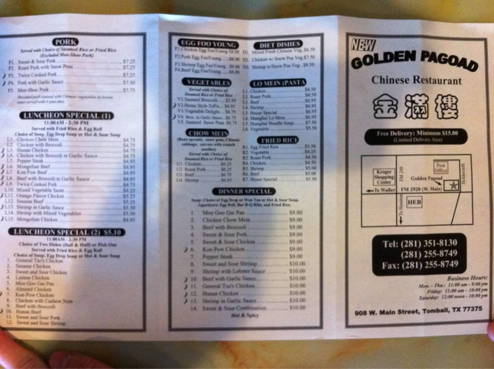 Suck my pagoda restaurant menu