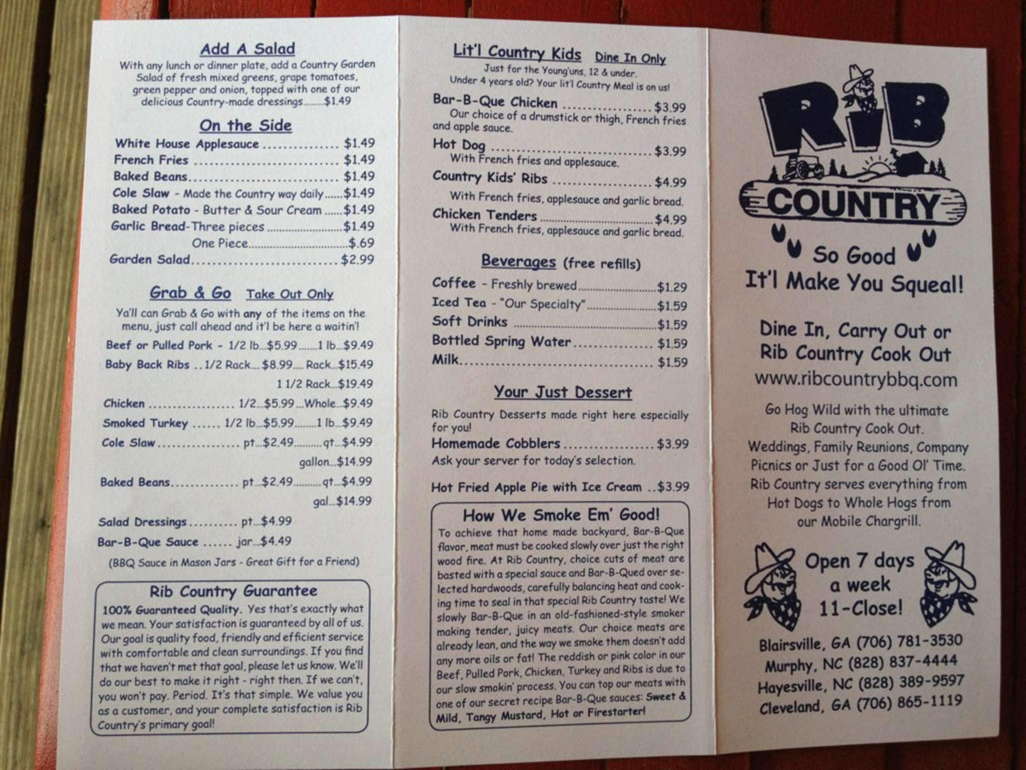 Rib Country Menu Menu For Rib Country Blairsville