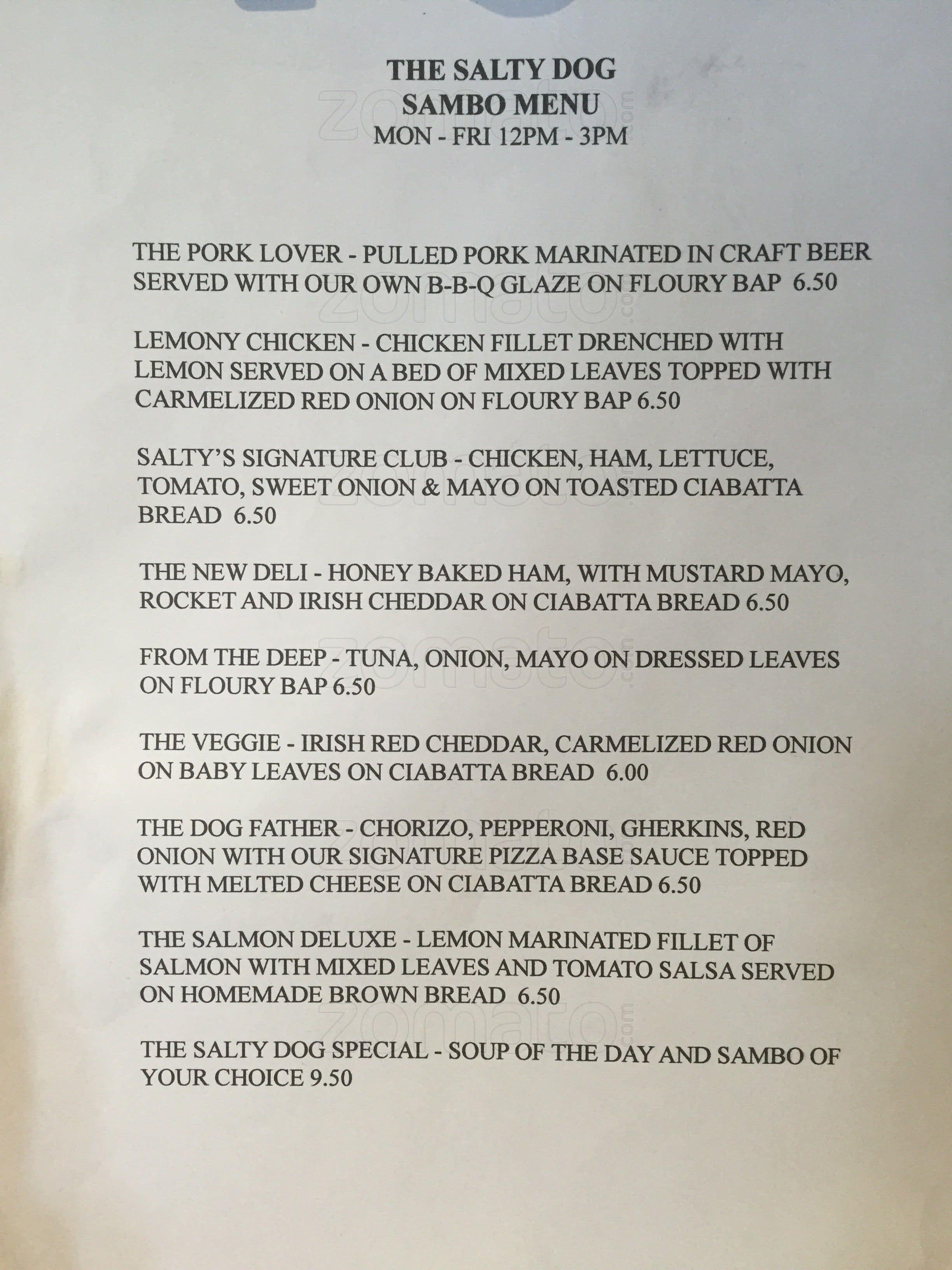 salty dog menu