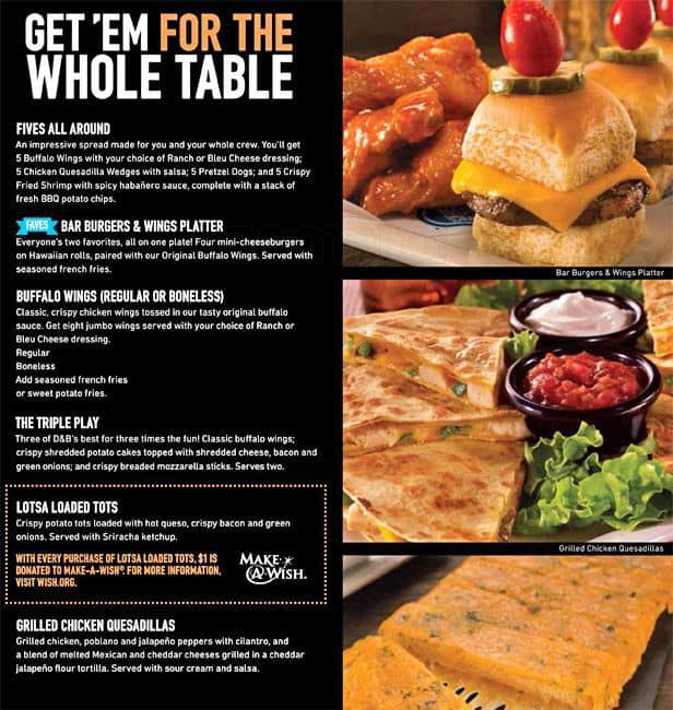 Dave and Buster's Menu Prices T he Dave & Busters Menu Prices include a variety of menu items that will keep both kids and adults energized between games. Although people typically head toward this restaurant to play their extensive assortment of games, the Dave & .