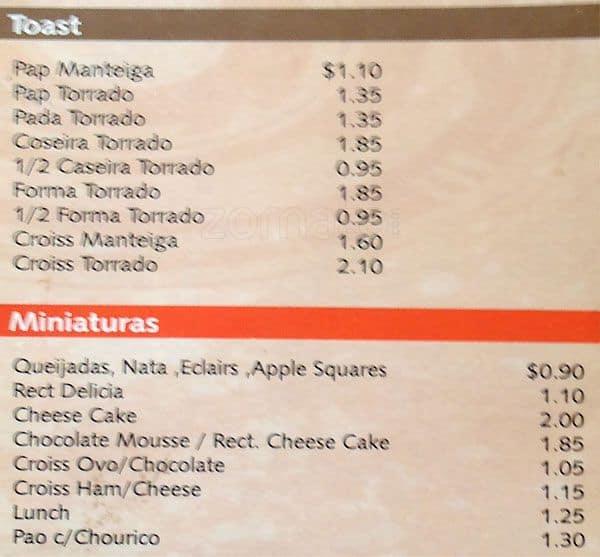 forma restaurant menu