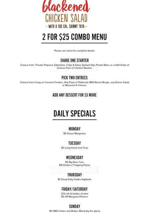 Studio movie grill menu