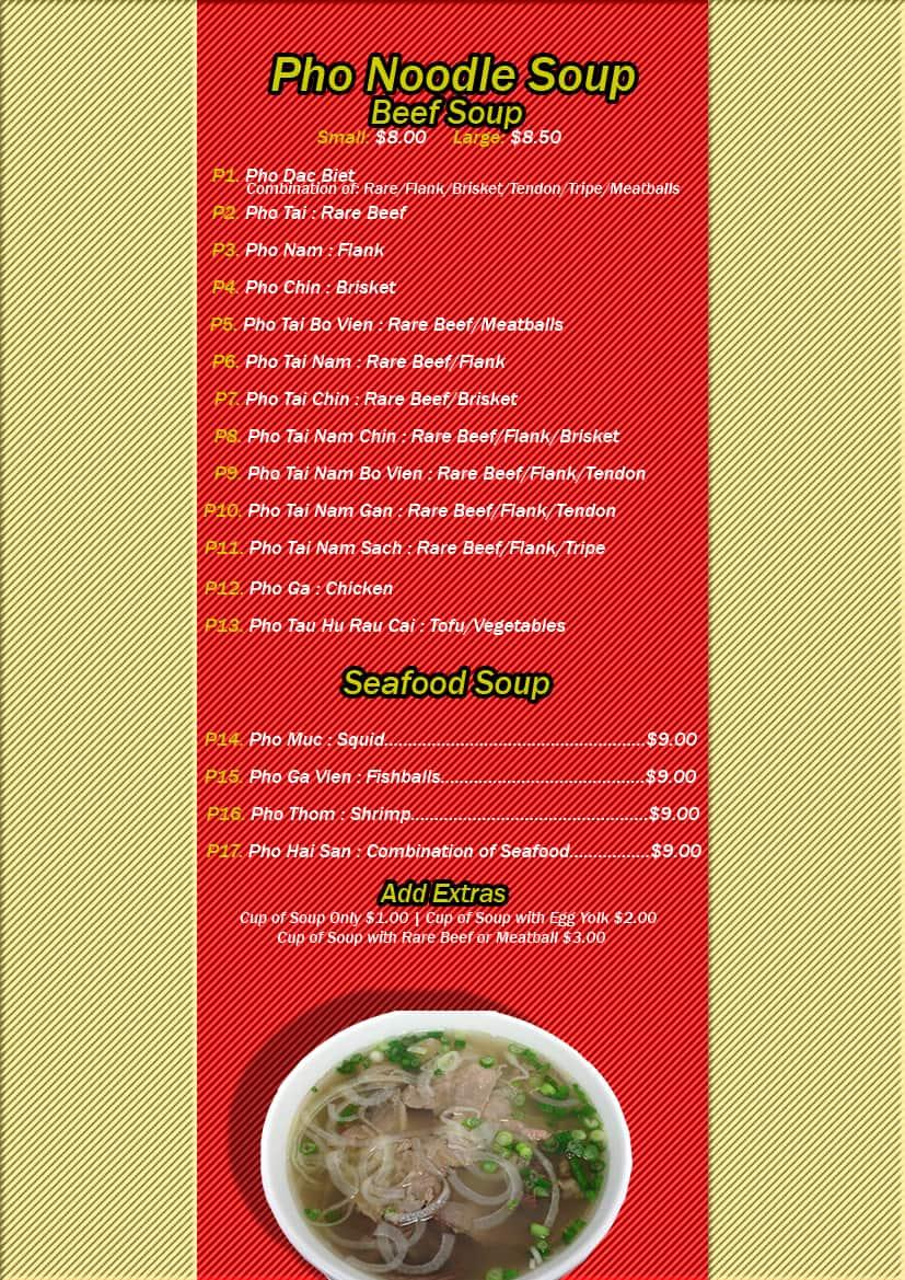 Menu at Pho 9 restaurant, Killeen, 921 W Veterans Memorial