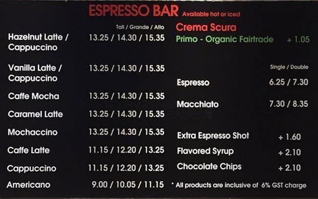 Cafe Pacific Menu