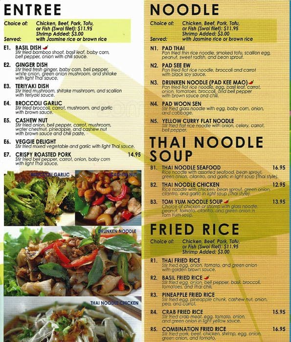 Menu at Thai Lotus Kitchen restaurant, Dallas, 3851 Cedar Springs Rd