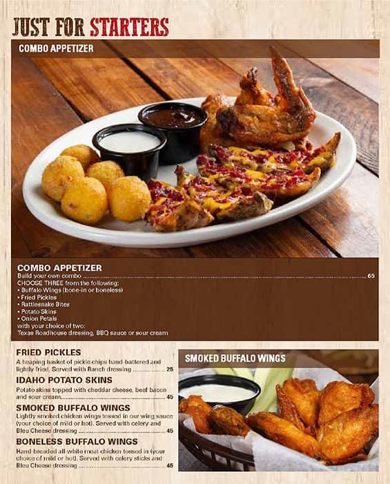 منيو مطعم تكساس رودهاوس