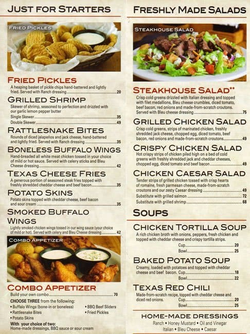 photograph regarding Texas Roadhouse Printable Menu referred to as Texas roadhouse promotions - Easiest places to eat south of boston