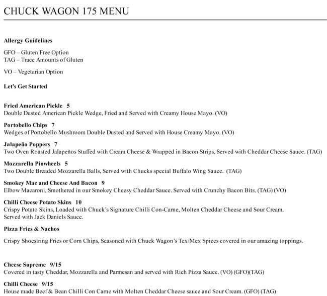 Chuck Wagon 175 Menu, Menu for Chuck Wagon 175, North Adelaide ...