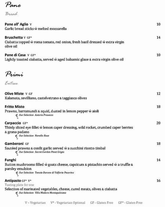 Bella Cosi Modern Italian Restaurant Prices