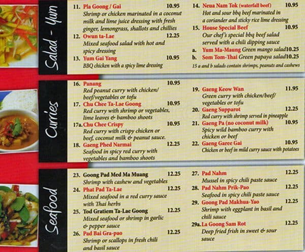 thai food menu food ideas