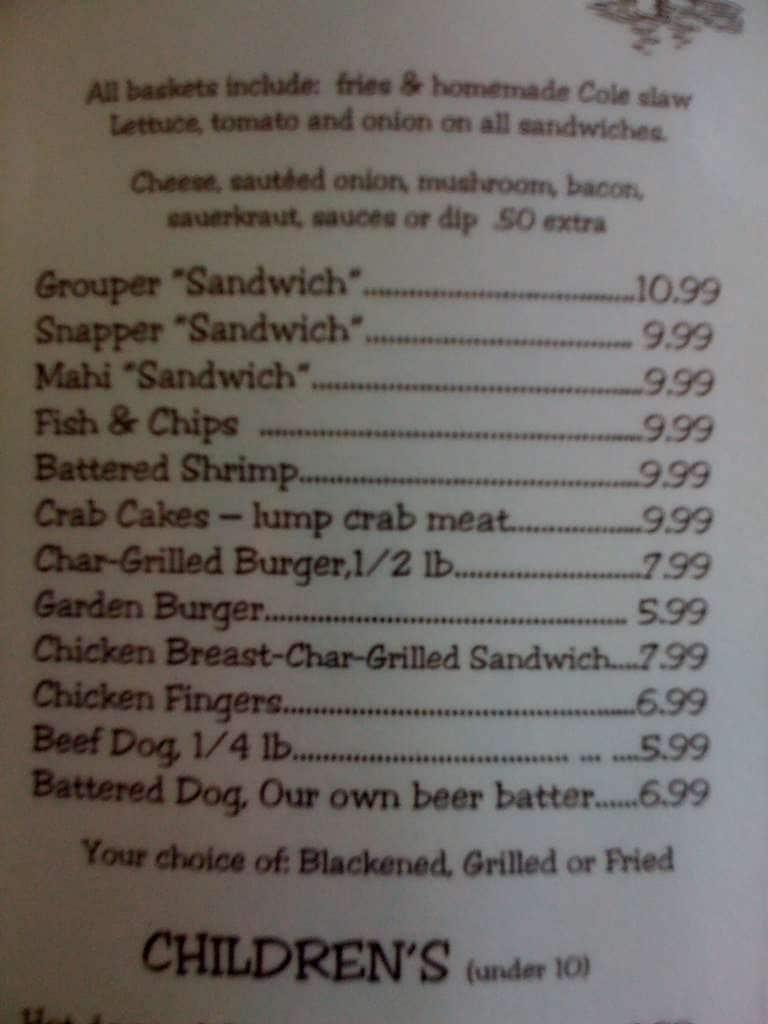 Casey key fish house a tampa bay foto del menu con prezzi for Fish house menu