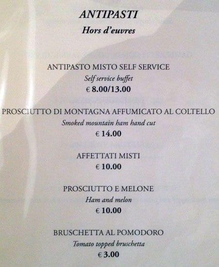agostino alla pergola a roma foto del menu con prezzi
