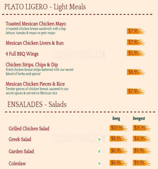 Mochachos chicken fiesta menu menu for mochachos chicken for Food bar cannington
