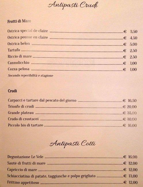 Le Vele a Roma: Foto del Menu con Prezzi - Zomato Italia