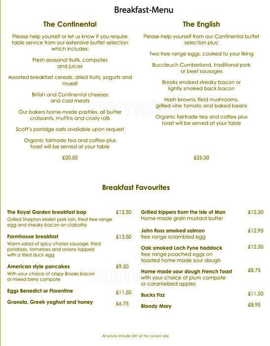 Park terrace royal garden hotel menu zomato uk for Terrace in the park menu
