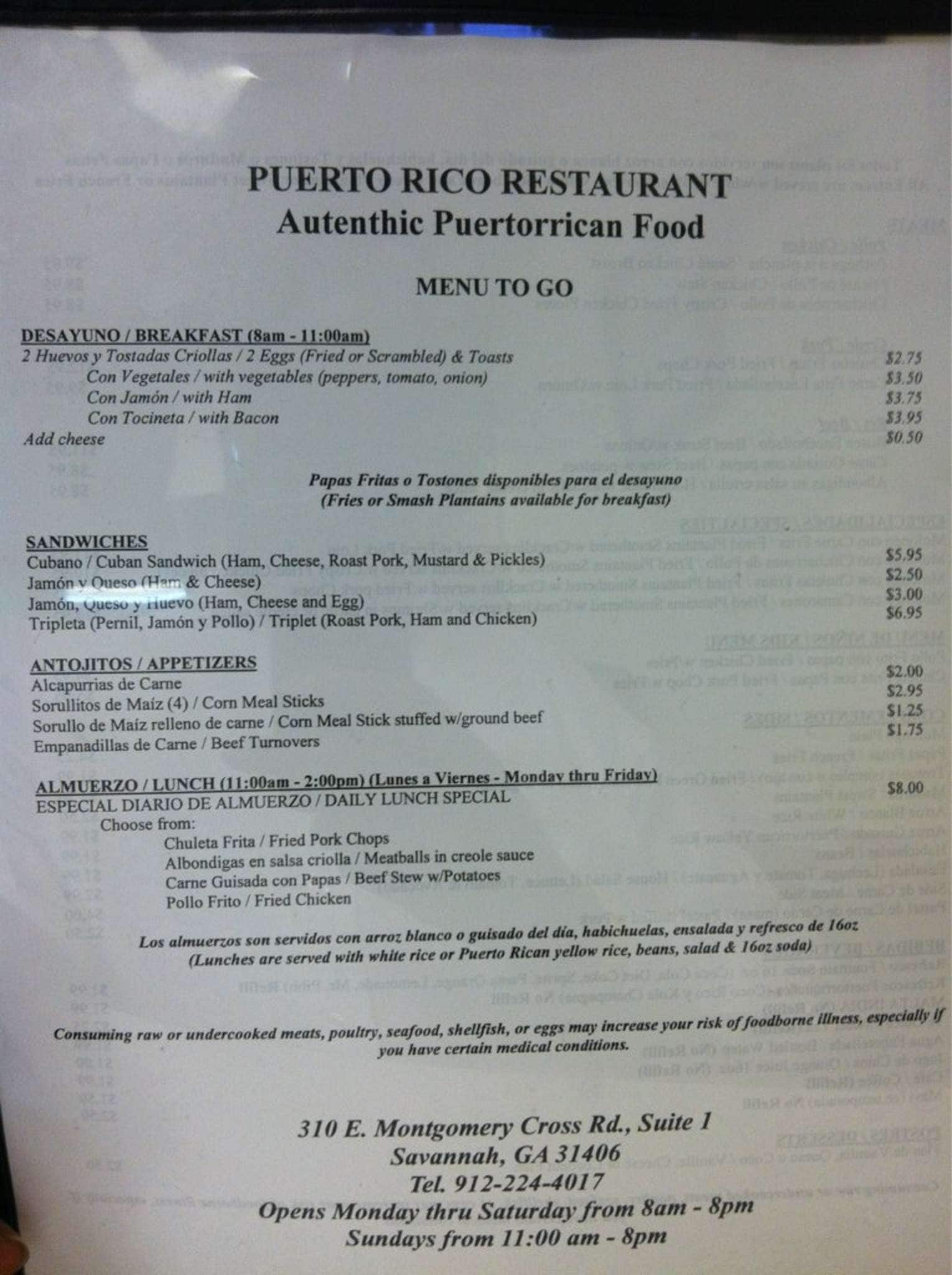 Puerto Rican Food Menu Prices
