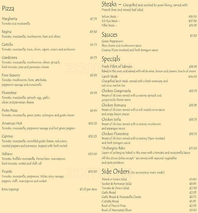 Zizzi Restaurant Woodbridge Menu