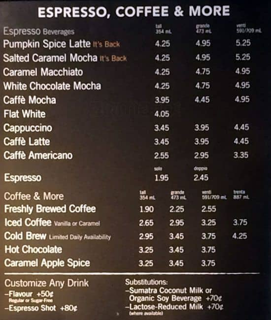 Starbucks Menu Menu For Starbucks Yorkville Toronto
