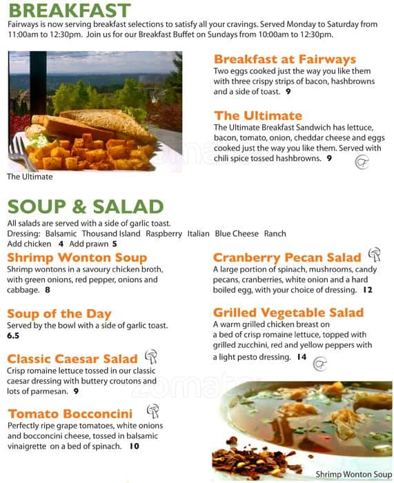 Fairways Grill And Patio, Coquitlam Menu