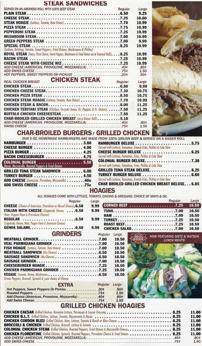 Menu at Colonial Kitchen, 103 N Union Ave - Restaurant prices