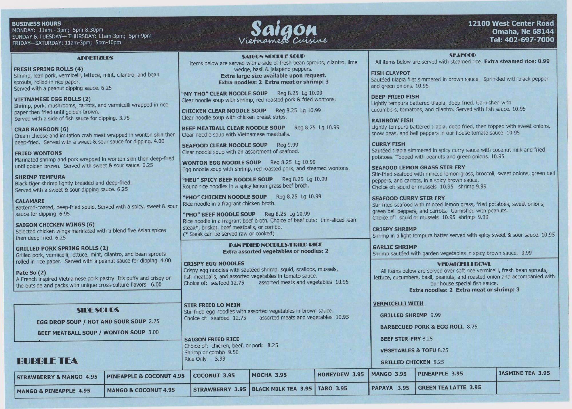 Saigon Restaurant Menu Menu For Saigon Restaurant