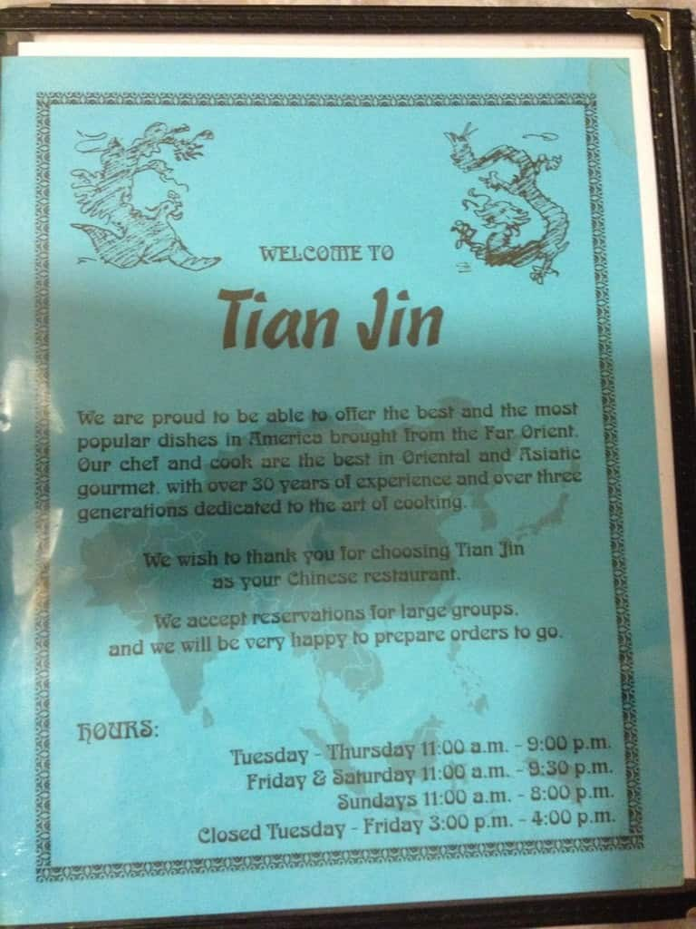Menu At Tian Jin Restaurant Pueblo
