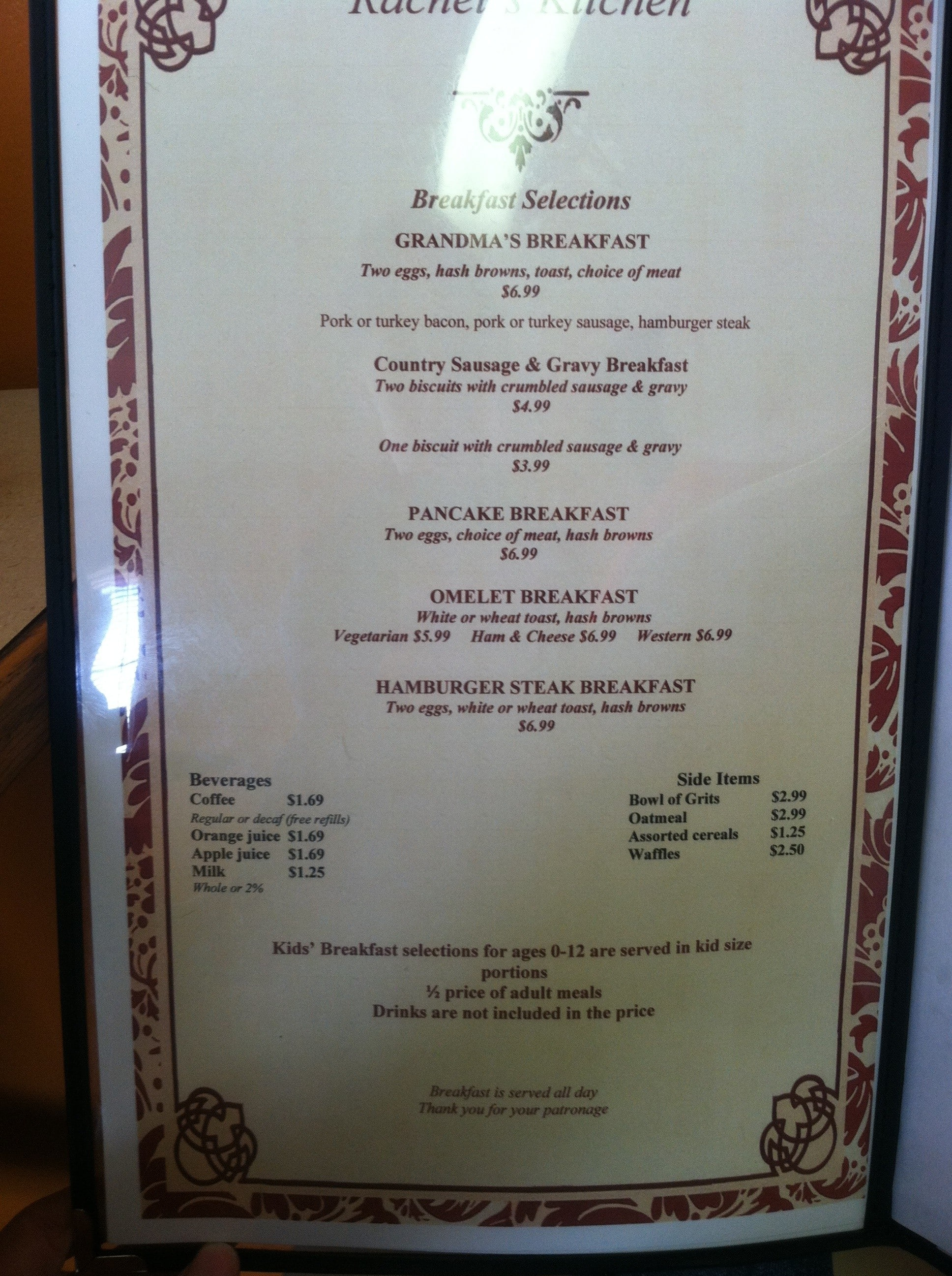 the restaurant information including the rachels kitchen menu items and prices may have been modified since the last website update - Rachels Kitchen Menu