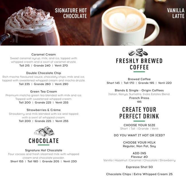 Starbucks Menu, Menu for Starbucks, Alwarpet, Chennai - Zomato
