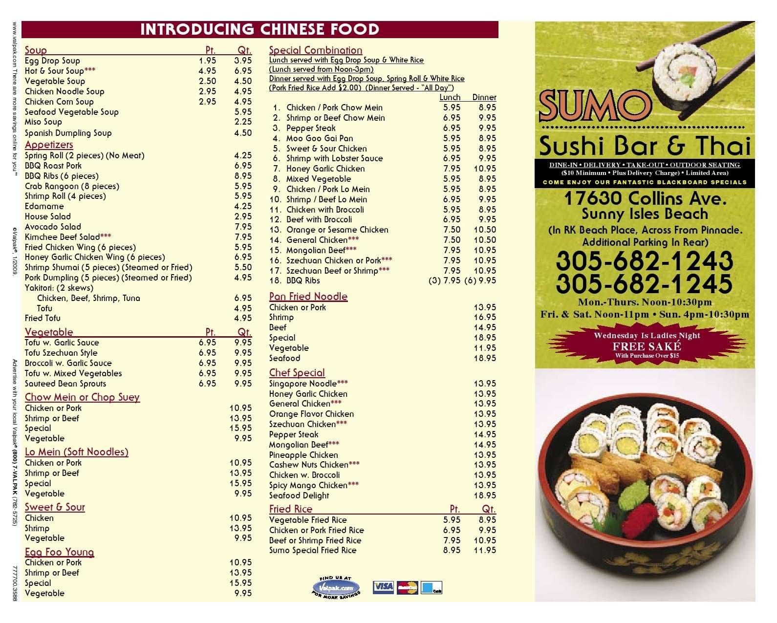 Fusion  Cafe Sushi Menu