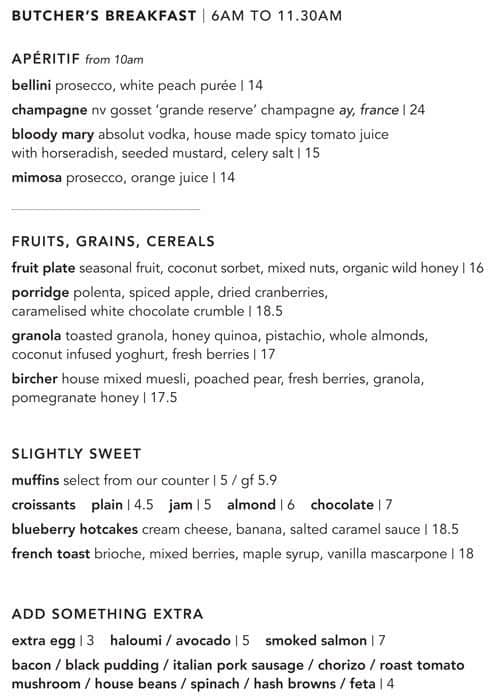 The Butcher S Block Wahroonga Menu