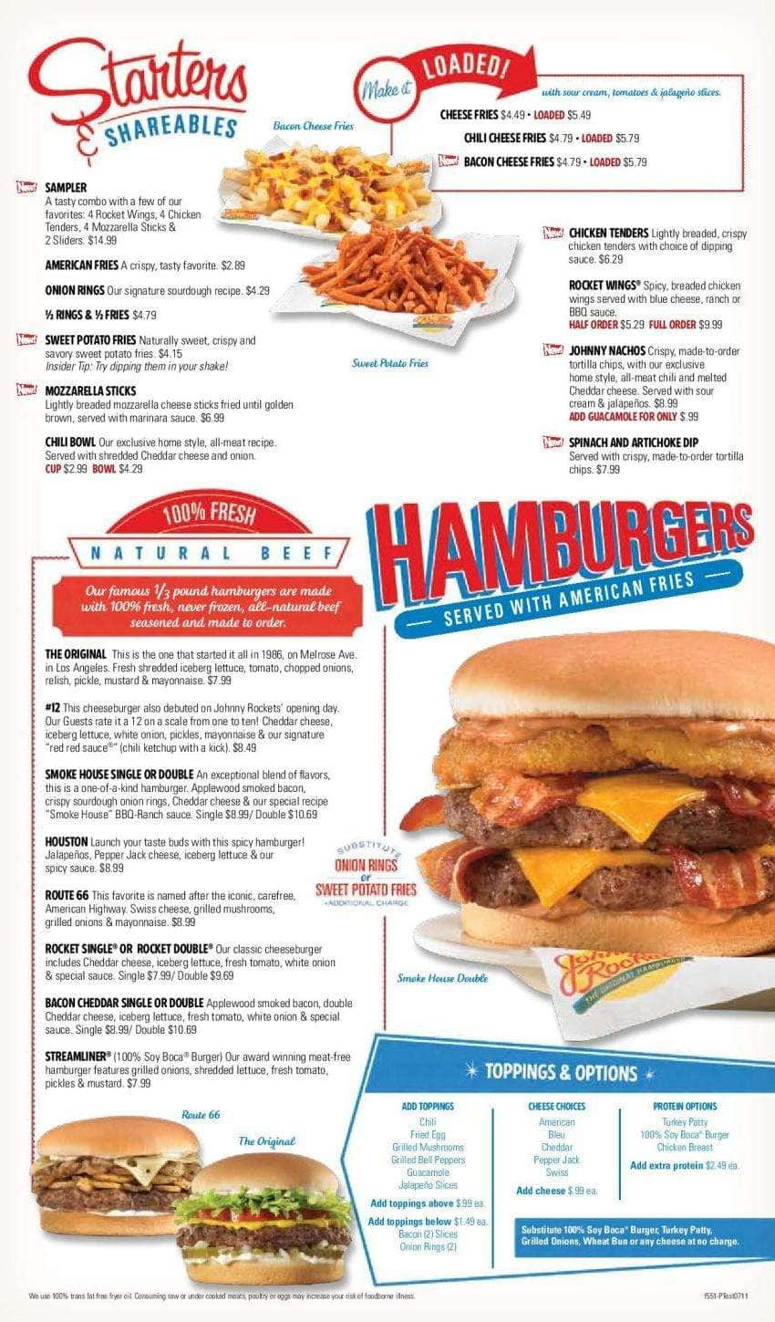 Image Gallery johnny rockets menu