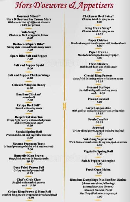 Menu at amber regent restaurant glasgow for Amber cuisine elderslie menu