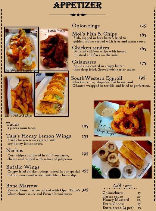 Open Table Menu Menu For Open Table Paligsahan Quezon City - Open table menu