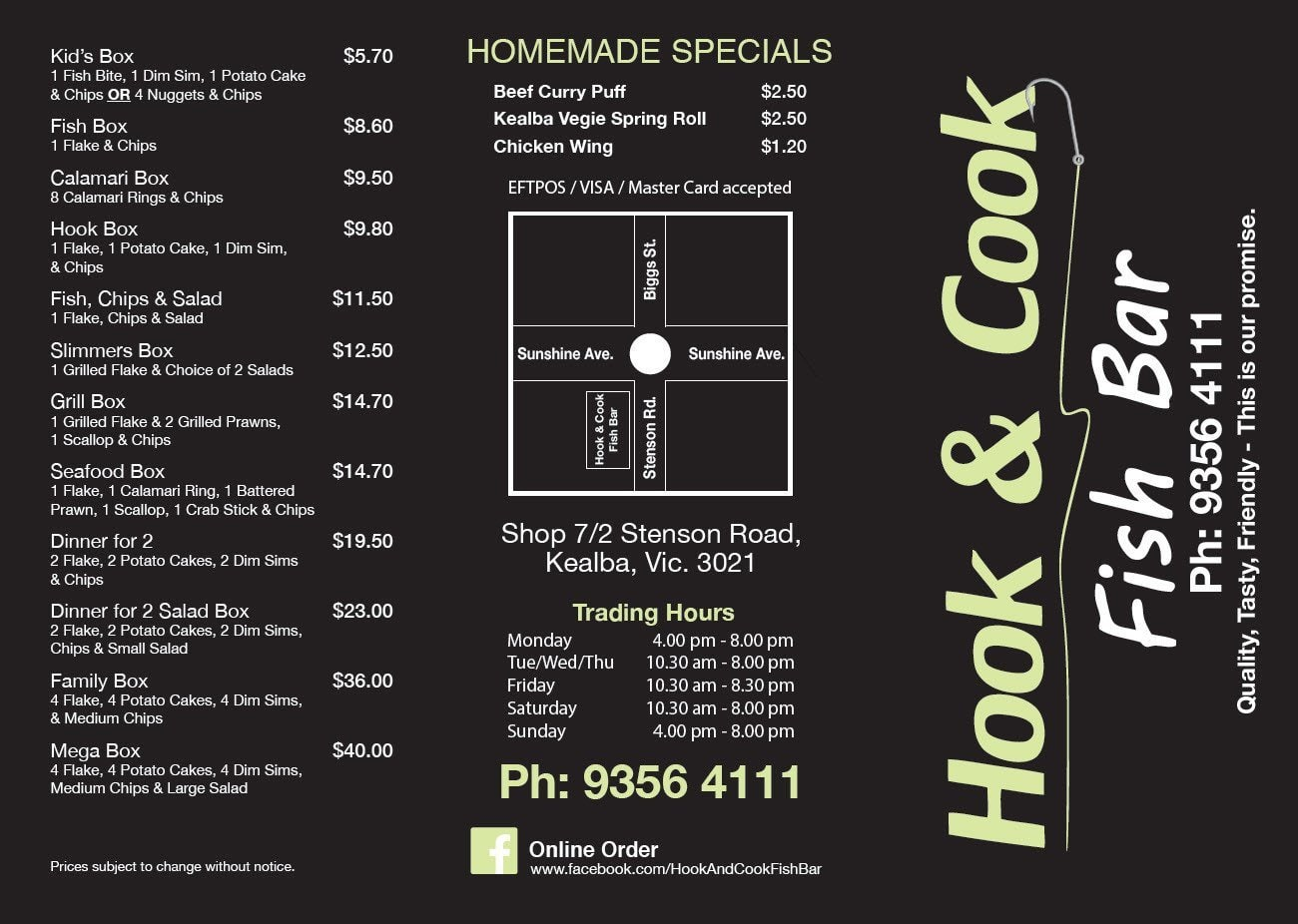 Hook up Fish bar Robina menu