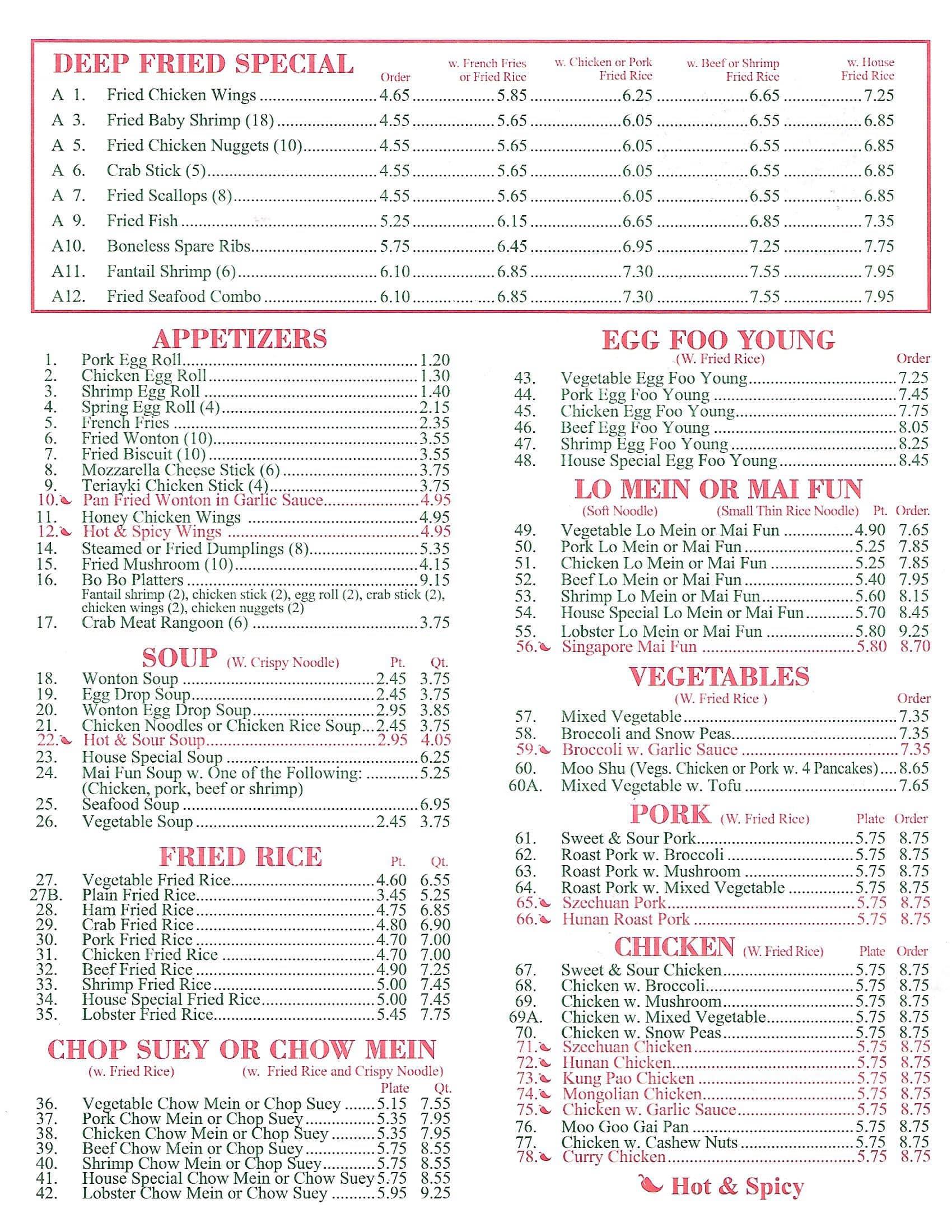 Chinatown Kitchen Menu Menu For Chinatown Kitchen Peoria