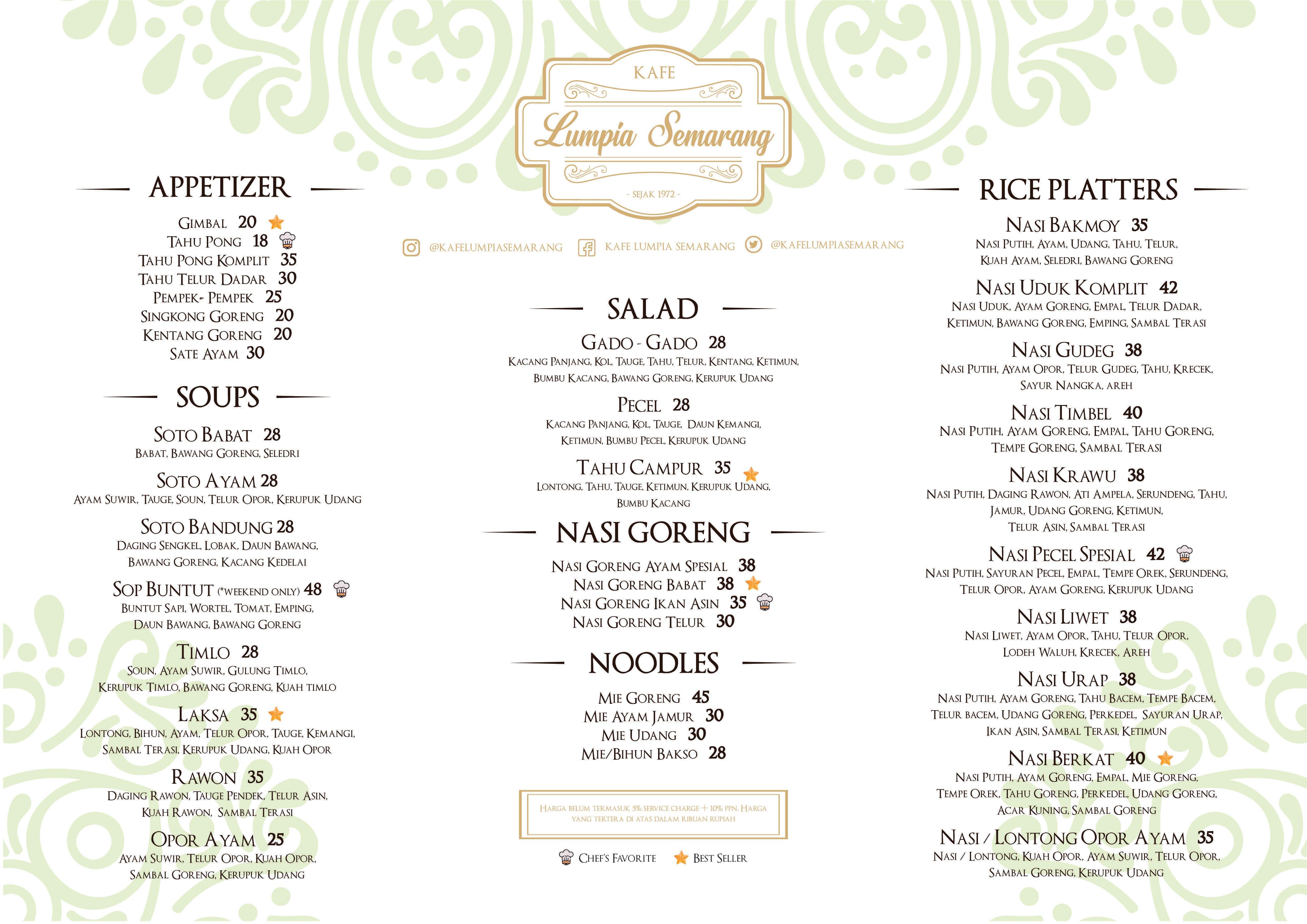 Kafe lumpia semarang menu