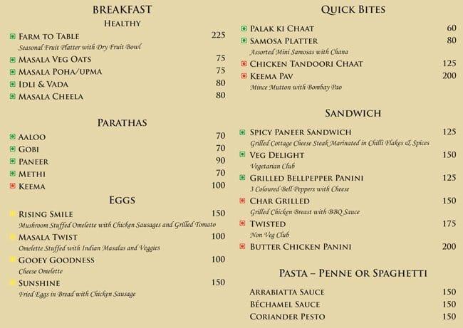 Svasti Cafe Menu, Menu for Svasti Cafe, Janpath, New Delhi