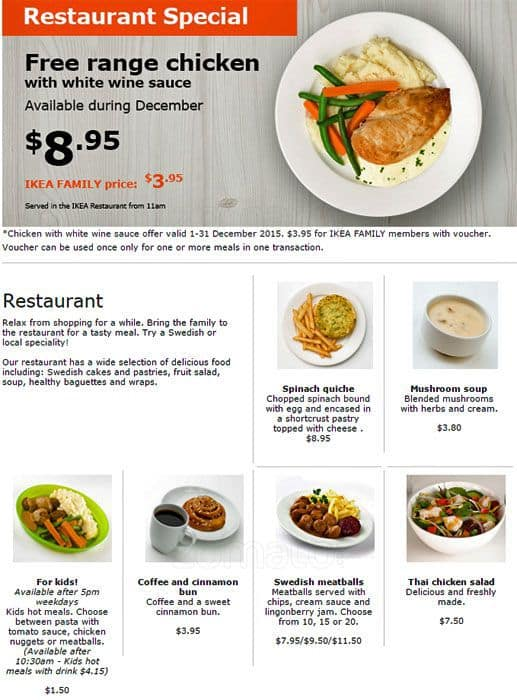Ikea restaurant menu menu for ikea restaurant innaloo for Australian cuisine menu