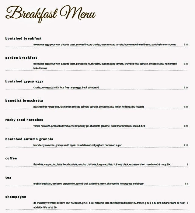 Boatshed Restaurant Menu
