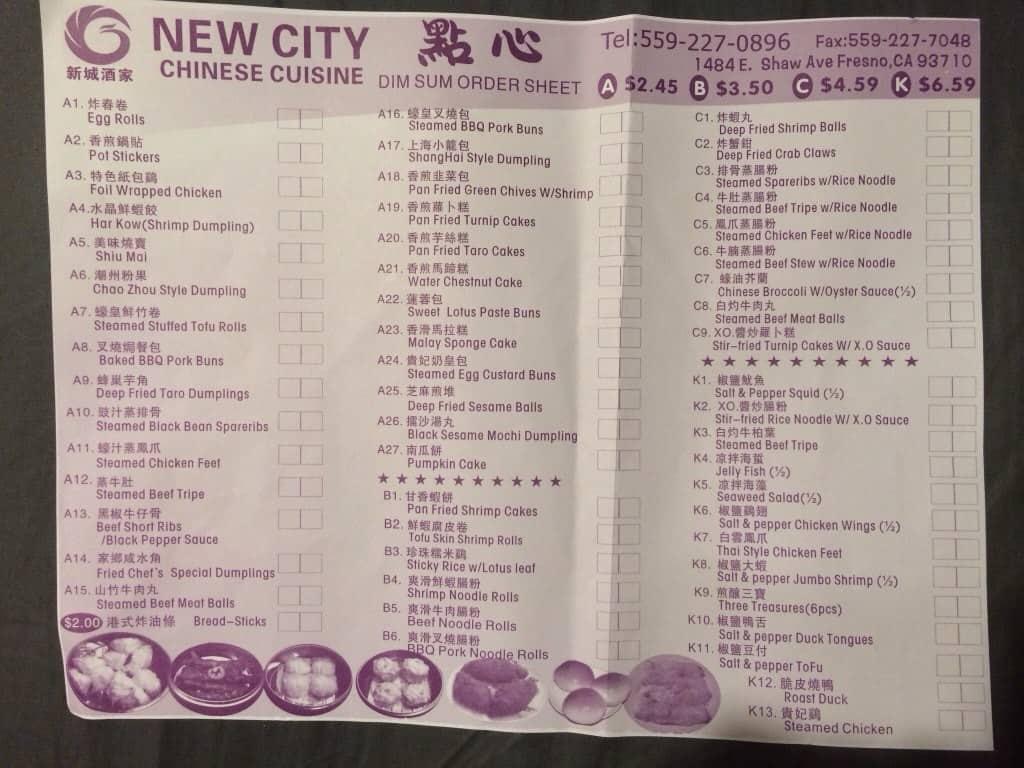 Menu At New City Chinese Cuisine Restaurant Fresno