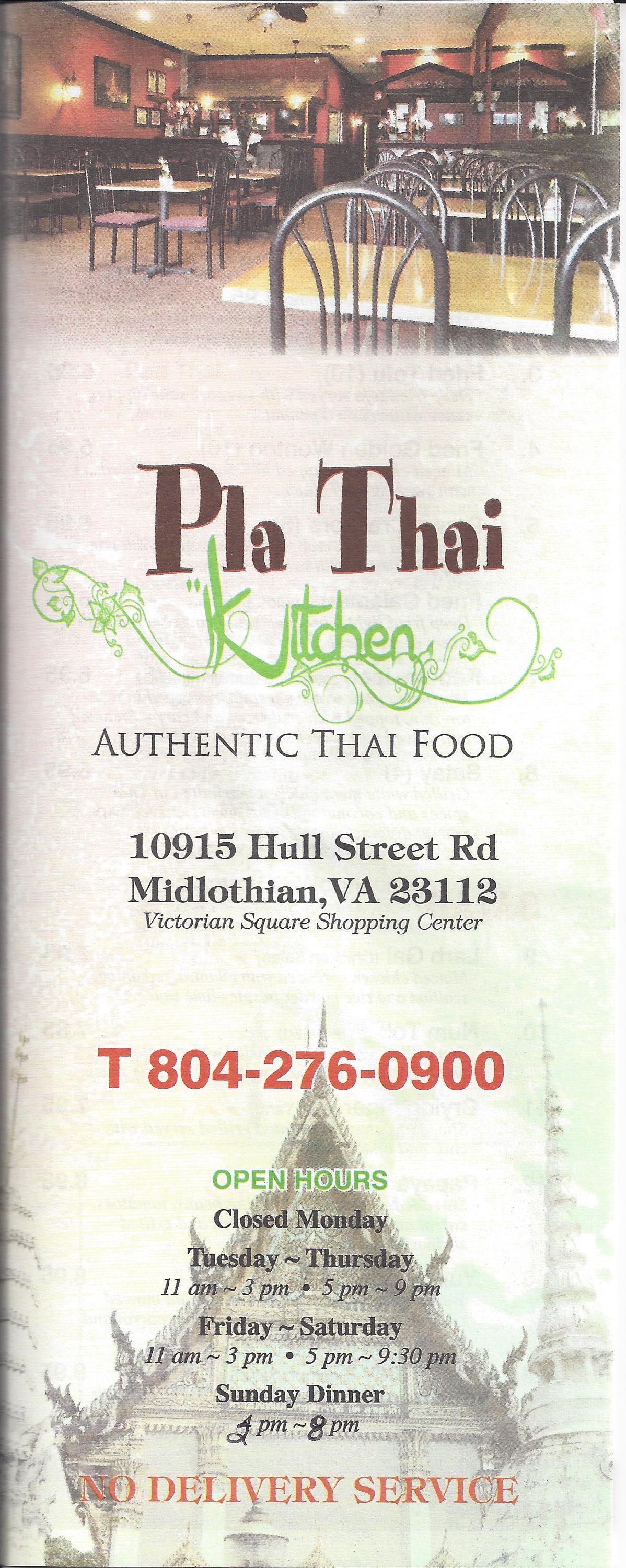 Pla Thai Kitchen Menu, Menu for Pla Thai Kitchen, Midlothian ...