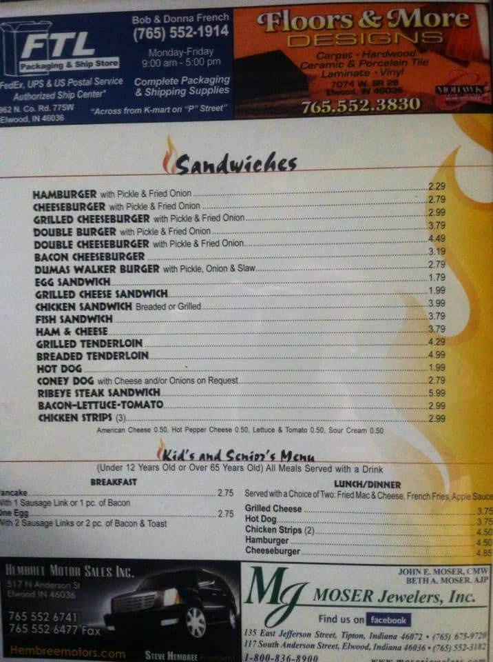 Roby S Grill Elwood Menu